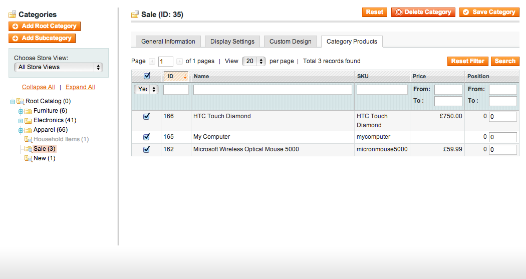 Automatically managed Sale category for Magento